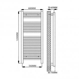 Reina Diva Electric Straight Heated Towel Rail 1200mm H x 600mm W White