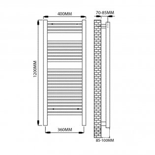 Reina Diva Straight Heated Towel Rail 1200mm H x 400mm W White