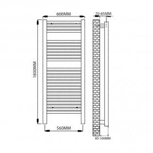Reina Diva Straight Heated Towel Rail 1800mm H x 600mm W White