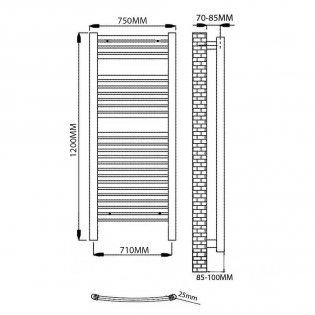 Reina Diva Electric Curved Heated Towel Rail 1200mm H x 750mm W Chrome