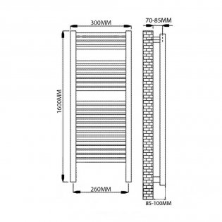 Reina Diva Thermostatic Electric Straight Heated Towel Rail 1600mm H x 300mm W Chrome