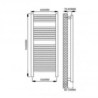 Reina Diva Thermostatic Electric Straight Heated Towel Rail 1600mm H x 600mm W Chrome