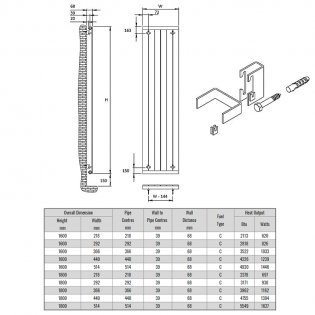 Reina Flat Single Designer Vertical Radiator 1800mm H x 440mm W White