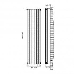 Reina Flat Double Designer Vertical Radiator 1800mm H x 440mm W White
