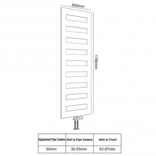 Reina Fondi Designer Heated Towel Rail 1790mm H x 600mm W White
