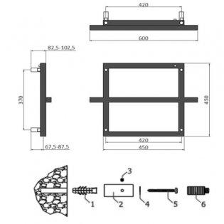 Reina Lago 1 Designer Heated Towel Rail 450mm H x 600mm W Chrome