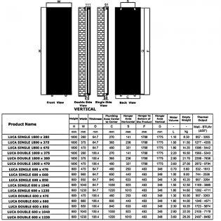 Reina Luca Single Vertical Aluminium Radiator 1800mm H x 375mm W White