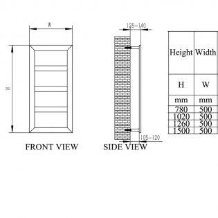 Reina Rima Designer Heated Towel Rail 1260mm H x 500mm W Chrome Stainless Steel