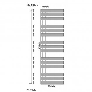 Reina Sesia Designer Heated Towel Rail 1180mm H x 500mm W Chrome