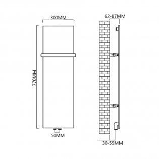 Reina Slimline Vertical Designer Radiator 770mm H x 300mm W RAL