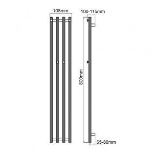 Reina Todi Designer Heated Towel Rail 800mm H x 108mm W Chrome