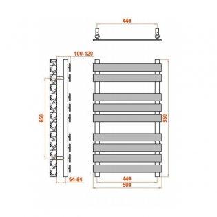 Reina Trento Flat Panel Heated Towel Rail 950mm H x 500mm W Chrome