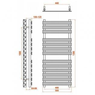 Reina Trento Flat Panel Heated Towel Rail 1300mm H x 500mm W Chrome