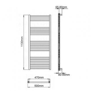 Reina Vasto Heated Towel Rail 1130mm H x 500mm W Chrome