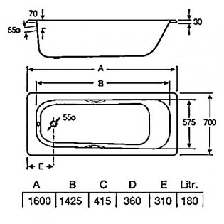Roca Carla Anti-Slip Single Ended Steel Bath with Grip Holes - 1600mm x 700mm - 2 Tap Hole
