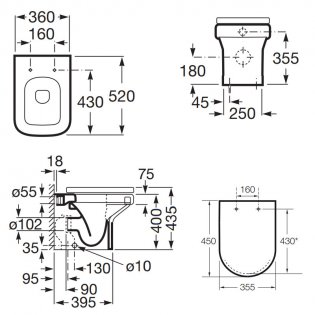 Roca Dama-N Back to Wall Toilet, 520mm Projection, Soft Close Seat