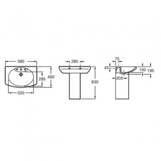 Roca Senso Basin and Full Pedestal, 580mm Wide, 1 Tap Hole