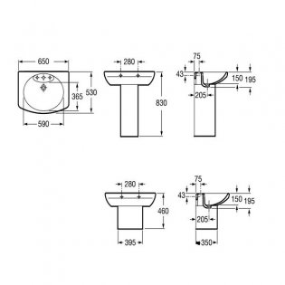 Roca Senso Basin and Full Pedestal, 650mm Wide, 1 Tap Hole