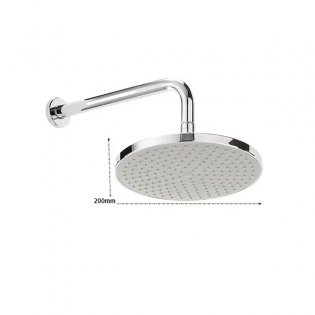 Sagittarius Arezzo ABS Fixed Shower Head and Arm, 200mm Diameter, Chrome