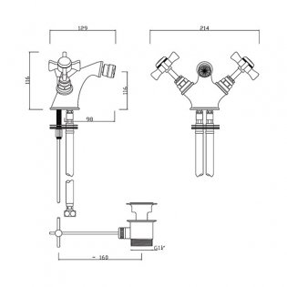 Sagittarius Churchmans Mono Bidet Mixer Tap With Pop-up Waste, Dual Handle, Chrome