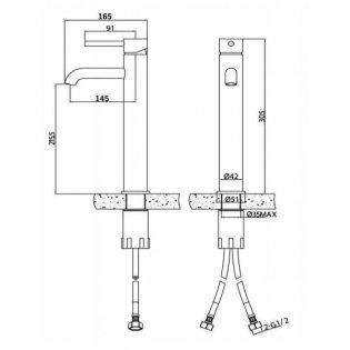 Sagittarius Ergo Extended Mono Basin Mixer Tap with Sprung Waste - Chrome