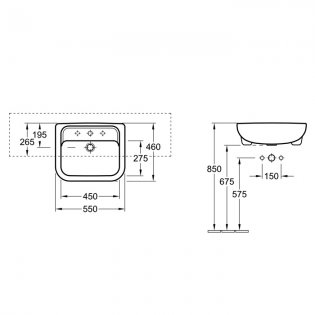 Signature D-Style Semi Recessed Basin 550mm Wide 1 Tap Hole