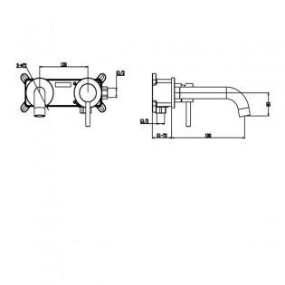 Signature ISO 2-Hole Basin Mixer Tap Wall Mounted - Chrome