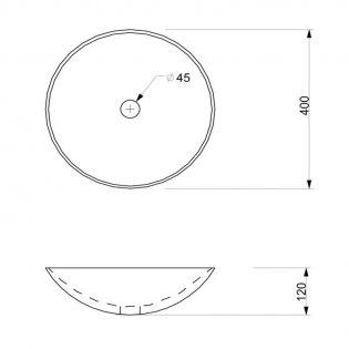Signature Merano Round Sit-On Countertop Basin 400mm Wide - Matt Beige