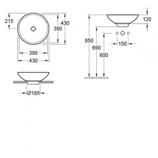 Signature Zoli Round Sit-On Countertop Basin 450mm Wide - 0 Tap Hole