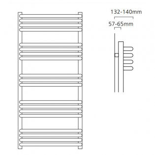 S4H Apsley Heated Towel Rail 1100mm H x 600mm W - RAL