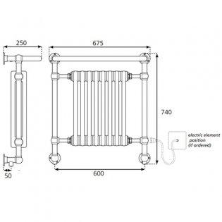 S4H Boleyn Radiator Heated Towel Rail 740mm H x 675mm W - White/Chrome