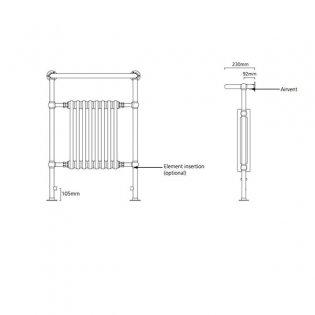 S4H Boleyn Radiator Heated Towel Rail 965mm H x 540mm W White/Chrome