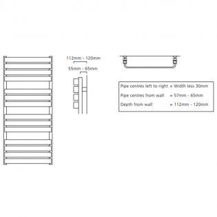 S4H Milton Flat Panel Heated Towel Rail 1110mm H x 500mm W - RAL