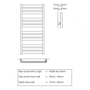 S4H Tallis Ladder Towel Rail 1060mm H x 500mm W - RAL