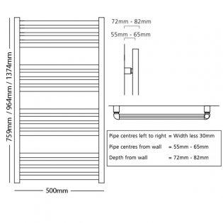 S4H Winsford Ladder Towel Rail 1374mm H x 500mm W - RAL