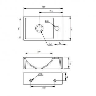 Tavistock Matrix Wall Hung Basin 370mm Wide - 1 Right Handed Tap Hole