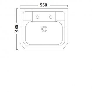 Tavistock Vitoria Semi Countertop Basin 550mm Wide - 2 Tap Hole