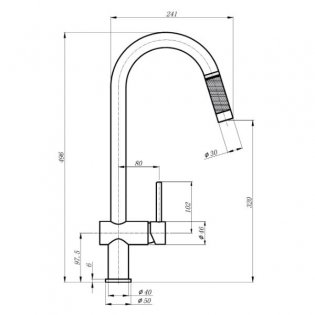 The 1810 Company Grande Kitchen Sink Mixer Tap with Pull-Out Spray - Chrome