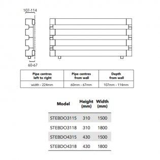 TRC BDO Step Heated Towel Rail 310mm H x 1800mm W - Black Chrome