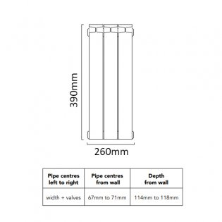 TRC Mix Radiator 390mm High x 260mm Wide, 3 Sections, White
