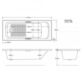 Trojan Granada Rectangular Single Ended Bath with Twin Grips 1675mm x 700mm - 0 Tap Hole