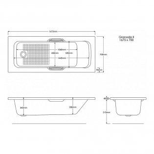 Trojan Granada II Rectangular Single Ended Bath with Twin Grips 1675mm x 700mm - 2 Tap Hole