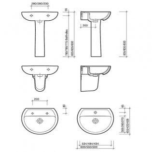 Twyford Alcona Basin & Semi Pedestal 550mm Wide 1 Tap Hole