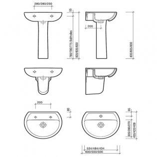 Twyford Alcona Basin & Full Pedestal 550mm Wide 1 Tap Hole