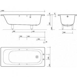 Twyford Celtic Single Ended Rectangular Bath Twin Grips 1600mm x 700mm 2 Tap Hole