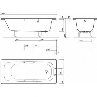 Twyford Celtic Single Ended Rectangular Bath Anti Slip 1600mm x 700mm 2 Tap Hole