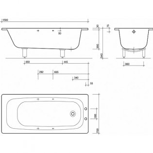 Twyford Celtic Single Ended Rectangular Bath Twin Grips 1500mm x 700mm 2 Tap Hole