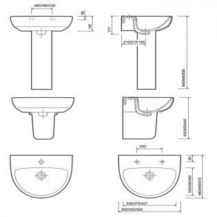 Twyford E100 Round Washbasin & Semi Pedestal 500mm Wide 1 Tap Hole