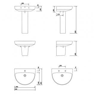 Twyford E100 Round Washbasin with Semi Pedestal 650mm W - 1 Tap Hole