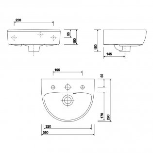 Twyford E100 Round Handrinse Washbasin with Full Pedestal 360mm W - 1 Tap Hole